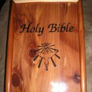 "HOLY BIBLE ""DOVE OF PEACE"" CATHOLIC EDITION in WHITE LEATHER/GILT - COMPLETE with CEDAR WOODEN BOX!"
