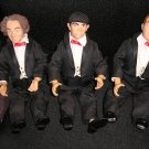 3 STOOGES ACTION FIGURE DOLLS - LARRY, MOE & CURLY by KENNER in TUXEDO&#39;S from 1997!