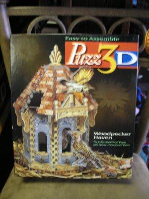 PUZZ 3D WOODPECKER HAVEN 232 PIECE FULLY DIMENSIONAL PUZZLE by MILTON BRADLEY WREBBIT HASBRO!