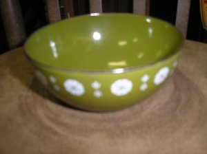 CATHRINEHOLM MINI BOWL - AVOCADO & WHITE VIKING PATTERN - JUST ADORABLE - #4!