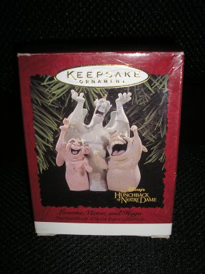 "DISNEY HUNCHBACK of NOTRE DAME ""LAVERNE,VICTOR and HUGO"" KEEPSAKE CHRISTMAS ORNAMENT by HALLMARK!"