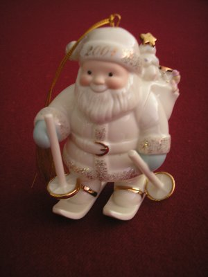 LENOX CLASSICS SANTA'S DOWNHILL DELIVERY ORNAMENT 2001 - RETIRED - NO BOX!