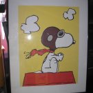 SNOOPY as WORLD WAR I FLYING ACE FRAMED PRINT with GLASS COVER - PRINTED IN ENGLAND - RARE!!