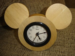 DISNEY SOLID WOOD MICKEY SILHOUETTE CLOCK - AUTHENTIC -  WOW!!