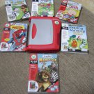 LeapFrog LeapPad PLUS WRITING & MICROPHONE (Rd/Sil) Learning System #30065 w/ 6 Books/Cartridges!