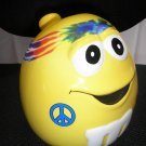 "M&M's PEANUT YELLOW CHARACTER ""HIPPIE"" ""FLOWER POWER"" ""TIE-DYE"" CERAMIC CANDY JAR - GALERIE - RARE!"