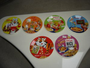 VINTAGE KELLOGG&#039;S BREAKFAST DISHES - LOT OF 6 - TONY THE TIGER &amp; RICE KRISPIE CHARACTERS - CUTE!