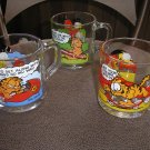 GARFIELD by JIM DAVIS GLASS COLLECTIBLE COFFEE MUG - LOT OF 3 - from MCDONALD'S - 1978 - RARE!
