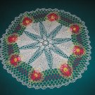 "VINTAGE HAND CROCHETED DOILY - 25"" IN DIAMETER - WHITE/LIME/FUSCHIA/YELLOW - STEP BACK IN TIME!"