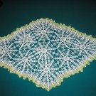 "VINTAGE HAND CROCHETED DOILY-39""x26"" DIAMOND SHAPE - WHITE/AQUA/YELLOW - EXTRAORDINARY ""3D"" DESIGN!"