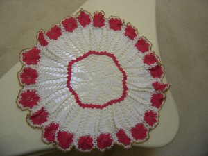"VINTAGE HAND CROCHETED DOILY - 28"" - WHITE/DARK PINK/GOLD METALLIC - STEP BACK IN TIME!"
