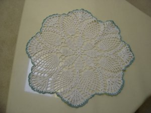 "VINTAGE HAND CROCHETED DOILY - 17"" - WHITE/AQUA METALLIC - STEP BACK IN TIME!"