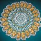 """VINTAGE HAND CROCHETED DOILY - 32"""" - BEIGE/YELLOW/METALLIC GOLD - STEP BACK IN TIME!"""