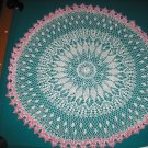 "VINTAGE HAND CROCHETED DOILY - 41"" IN DIAMETER - WHITE/PINK - EXTRAORDINARY ""3D"" DESIGN!"