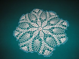 "VINTAGE HAND CROCHETED DOILY - 18"" - WHITE/BLUE METALLIC - STEP BACK IN TIME!"