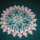 "VINTAGE HAND CROCHETED DOILY-15"" ROUND - WHITE/PINK - EXTRAORDINARY ""3D"" DESIGN!"
