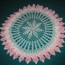 "VINTAGE HAND CROCHETED DOILY - 23"" ROUND - WHITE/PINK - EXTRAORDINARY ""3D"" DESIGN!"