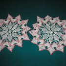 "VINTAGE HAND CROCHETED DOILY - 12"" ROUND - SET OF 2 - WHITE/PINK - EXTRAORDINARY ""3D"" DESIGN!"
