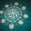 "VINTAGE HAND CROCHETED DOILY - 16"" ROUND - WHITE/PINK/GREEN - EXTRAORDINARY ""3D"" DESIGN!"