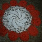 "VINTAGE HAND CROCHETED DOILY - 14"" - WHITE/ORANGE - WIDE 3D FLORAL BORDER - STEP BACK IN TIME!"