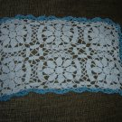 "VINTAGE HAND CROCHETED DOILY - 15"" x 10"" - WHITE/BLUE METALLIC - STEP BACK IN TIME!"
