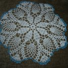 "VINTAGE HAND CROCHETED DOILY - 15"" - WHITE/BLUE METALLIC - STEP BACK IN TIME!"