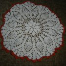 VINTAGE HAND CROCHETED DOILY - 11&quot; - WHITE/ORANGE - STEP BACK IN TIME!