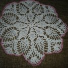"VINTAGE HAND CROCHETED DOILY - 13"" - WHITE/PINK METALLIC - STEP BACK IN TIME!"