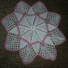 "VINTAGE HAND CROCHETED DOILY - 13"" - WHITE/PINK STAR SHAPED - STEP BACK IN TIME!"
