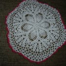"VINTAGE HAND CROCHETED DOILY - 12"" - WHITE/RED - STEP BACK IN TIME!"