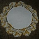 "VINTAGE HAND CROCHETED DOILY - 12"" - WHITE/VARIEGATED YELLOW with CLOTH CENTER -STEP BACK IN TIME!"