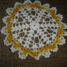 "VINTAGE HAND CROCHETED DOILY - 8"" - WHITE/VARIEGATED YELLOW -STEP BACK IN TIME!"