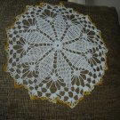 "VINTAGE HAND CROCHETED DOILY - 16"" - WHITE/VARIEGATED YELLOW -STEP BACK IN TIME!"