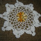 VINTAGE HAND CROCHETED DOILY - 9&quot; - WHITE/VARIEGATED YELLOW &quot;SNOWFLAKE&quot; - STEP BACK IN TIME!