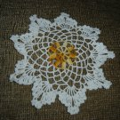 "VINTAGE HAND CROCHETED DOILY - 9"" - WHITE/VARIEGATED YELLOW ""SNOWFLAKE"" - STEP BACK IN TIME!"