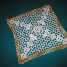 "VINTAGE HAND CROCHETED DOILY - 12"" - WHITE/VARIEGATED YELLOW -STEP BACK IN TIME!"