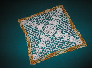"""VINTAGE HAND CROCHETED DOILY - 12"""" - WHITE/VARIEGATED YELLOW -STEP BACK IN TIME!"""