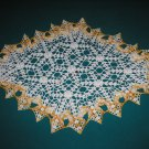 "VINTAGE HAND CROCHETED DOILY-26"" x 18"" OBLONG - WHITE/YELLOW VARIEGATED - EXTRAORDINARY ""3D"" DESIGN!"