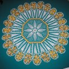 "VINTAGE HAND CROCHETED DOILY - 37"" - WHITE/VARIEGATED YELLOW -STEP BACK IN TIME!"