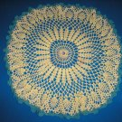 "VINTAGE HAND CROCHETED DOILY - 21"" - WHITE/GREEN - STEP BACK IN TIME!"