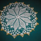 "VINTAGE HAND CROCHETED DOILY - 15"" - WHITE/VARIEGATED YELLOW -STEP BACK IN TIME!"