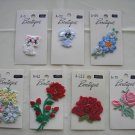 "VINTAGE EMBROIDERED ""BOUTIQUE"" FLORAL & ANIMAL APPLIQUES - LOT OF 9 - STILL ATTACHED TO CARDS - NEW!"