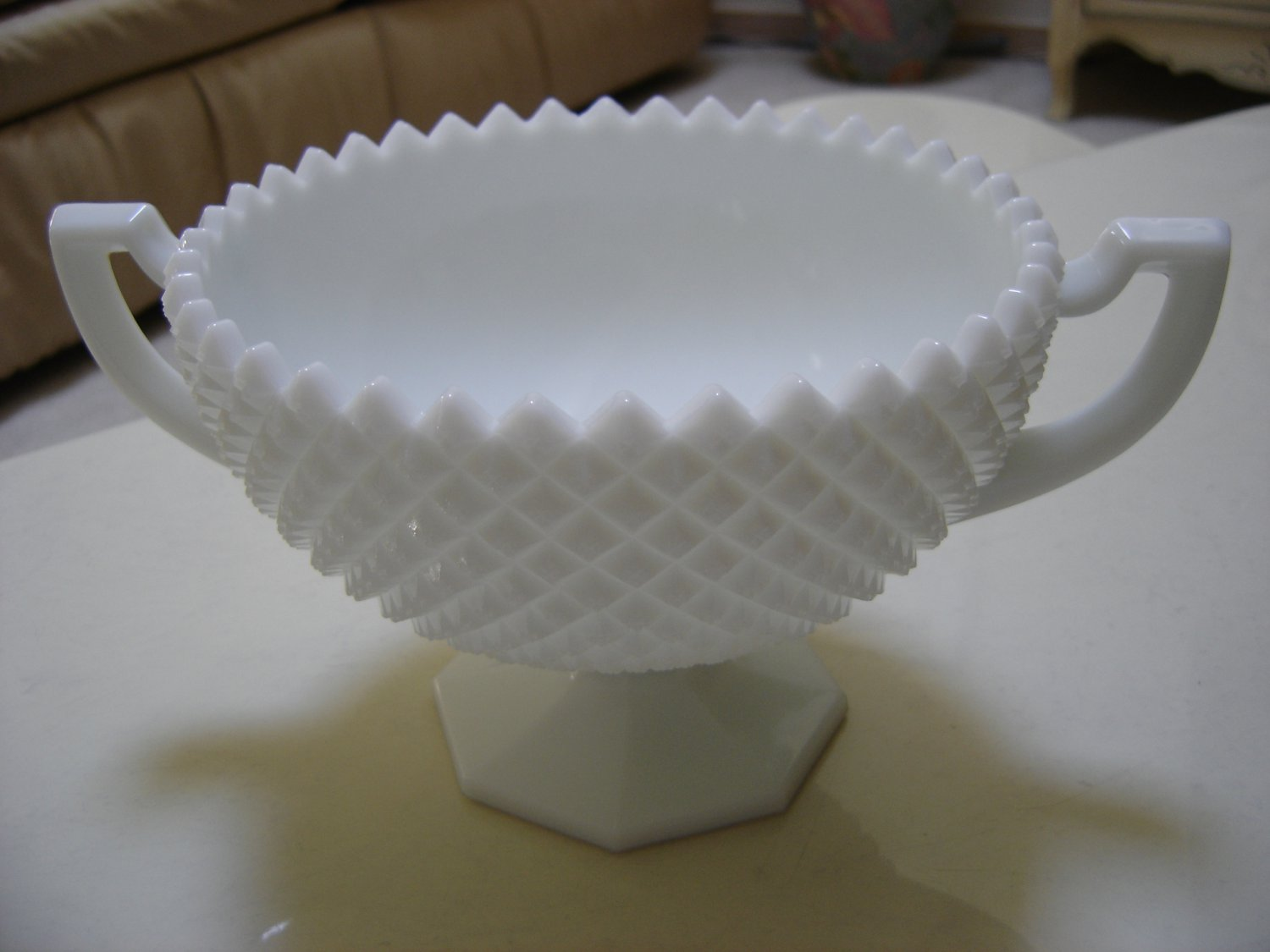WESTMORELAND ENGLISH HOBNAIL (SAWTOOTH) MILK GLASS LARGE FOOTED BOWL - SIGNED - GORGEOUS!