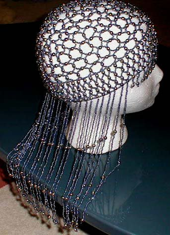 BEADED HEADPIECE - PEWTER BEADS - SEXY - HOT - BEADED FRINGE!