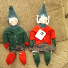 "PAIR of CHRISTMAS ELVES by KRISNICKS-FABULOUS FOLK ART -COUNTRY BUSINESS -HANDMADE IN USA-17"" TALL!"