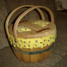 VINTAGE SEWING BASKET-FRUIT BASKET BOTTOM- DOUBLE-HINGED WOODEN TOP -BUTTERFLY PATTEN -INSIDE LINED!
