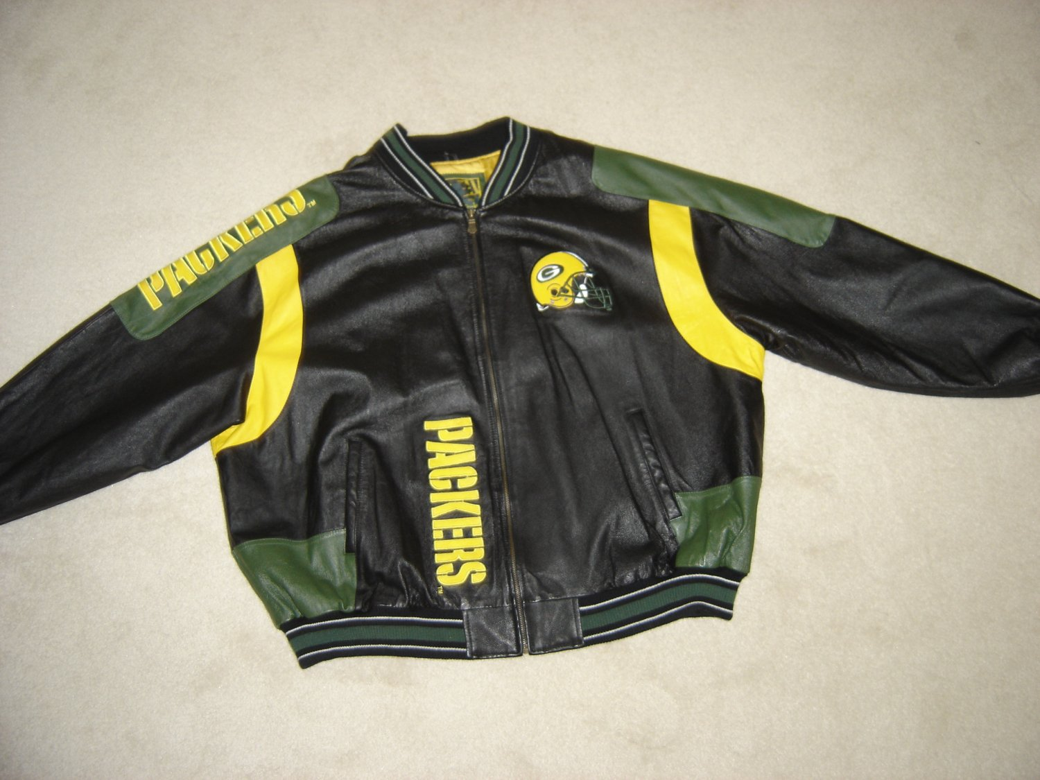 NFL GREEN BAY PACKERS LEATHER JACKET -GLOBAL IDENTITY G-III CARL BANKS-SIZE  4XL-OFFICIALLY LICENSED! 910417a8c