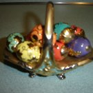 FRANKLIN MINT AUTUMN FABERGE EGG BASKET with 9 PORCELAIN EGGS - GORGEOUS EASTER DECORATION!