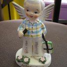 VINTAGE LEFTON NAPCO SEPTEMBER BOY ANGEL FIGURINE 1956 with SCHOOL BOOKS & PENCILS - RARE!