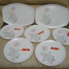 STETSON MEMLAC MAJESTIC ROSE DESIGN VINTAGE 10&quot; DINNER PLATES (5) with ORIGINAL TAGS + 2 PLATTERS!